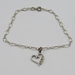 """Jewelry - 8"""" Sterling Silver Rustic Heart Charm CZ Bracelet"""